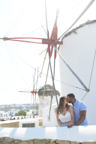 Couples shooting in Windmills Mykonos greek island
